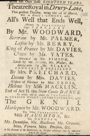 Playbill for All's Well That Ends Well