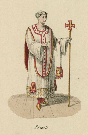 Costume design for the Doctor of Divinity, in some versions called the priest