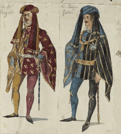 Costume designs for Lords Bagot and Green