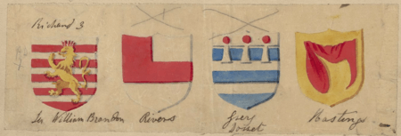 Shield designs for Brandon, Rivers, Dorset, and Hastings