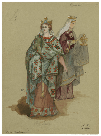Costume designs for two ladies