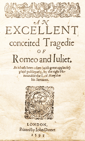 Title page of first quarto of Romeo and Juliet