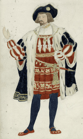 Costume for King of Navarre in Augustin Daly's production of Love's Labour's Lost