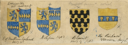 Shield designs for use in Charles Kean's productions of Henry IV 1 & 2