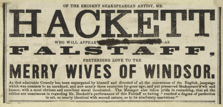 Playbill for Merry Wives of Windsor starring James Henry Hackett
