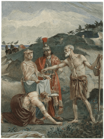 Timon giving gold to Phrynia and Timandra, Alcibiades