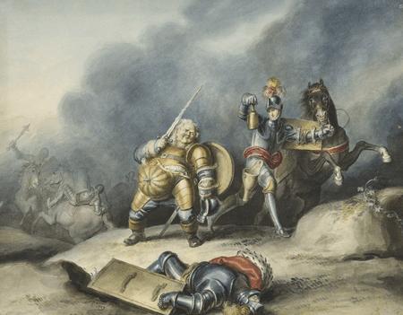 Prince Henry and Falstaff on plain near Shrewsbury
