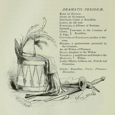 Dramatis Personae from Harper & Brothers edition of All's Well that Ends Well