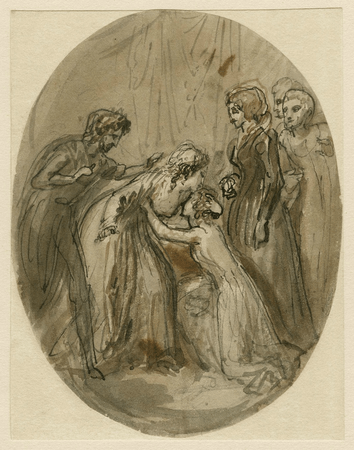 Perdita kneeling to Hermione