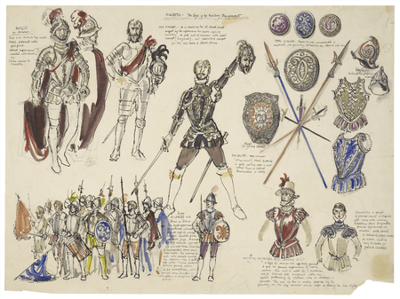 Sheet of designs for military dress and weapons for Macbeth