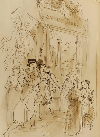 Sketch for frontispiece of 'Comedy of Errors' in 'The Pictorial Edition Of The Works of Shakspere'