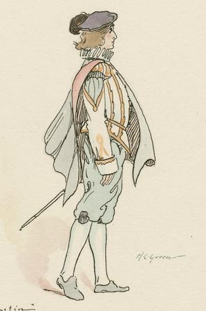 Costume sketch for Sebastian