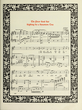 """Sheet music for """"The poor soul sat sighing by a sycamore tree"""""""