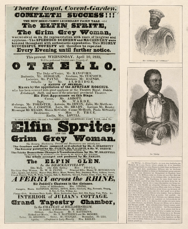 Ira Aldridge's first appearance at Covent Gardens in the role of Othello