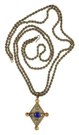 Gilt chain with blue and amber-stoned medallion