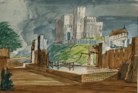 Scene design for Hamlet at the Princess's Theatre