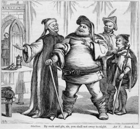 Justice Swallow tries to get Falstaff to stay for the night
