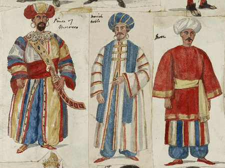 Costume design for the Prince of Morocco and his attendants