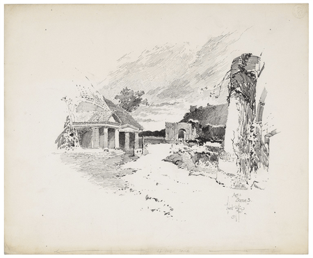 Set design for the 1892 production of Lear by Henry Irving at the Lyceum Theatre