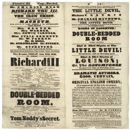 Playbill for Richard III and other plays at the Theatre Royale, London