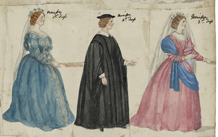 Three costume designs for Nerissa