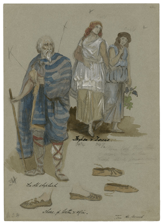 Costume designs for the shepherd, Mopsa, and Dorcas