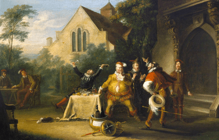 Pistol announcing to Falstaff the death of the King