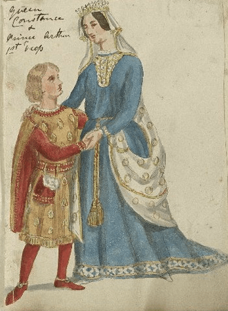 Costume designs for Constance and Arthur