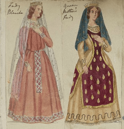 Costume designs for Lady Blanch and Queen Elinor