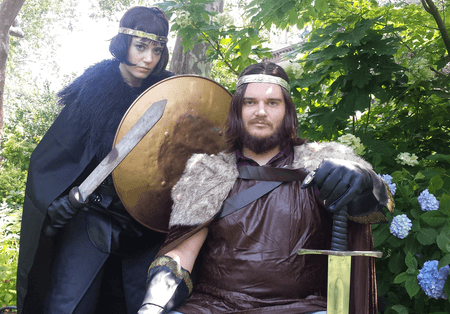 Rhiannon Lattimer as Ned, the Black Prince with Ben Forer as his father Edward III