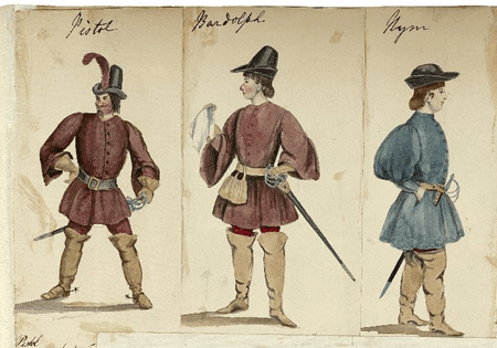 Costume designs for Pistol, Bardolph, and Nym