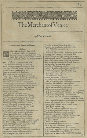 Second Folio Title Page of the Merchant of Venice