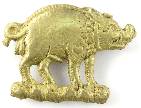 Copper-alloy boar mount possibly worn by a supporter of Richard III