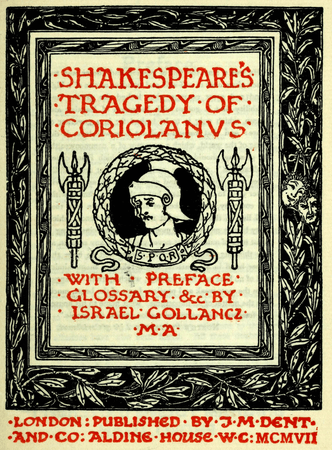 Frontpiece for 1899 edition of Coriolanus