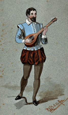 Costume study for Hortensio disguised as a musician