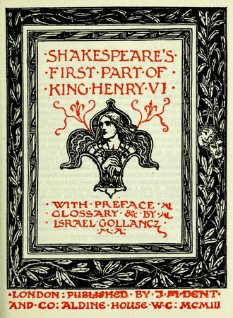 Frontpiece for 1899 edition of Henry VI, Part 1