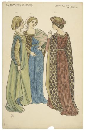 Costume designs for Silvia's attendants