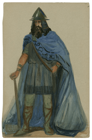 Costume design for the Viola Allen production of Cymbeline, possibly for a guard