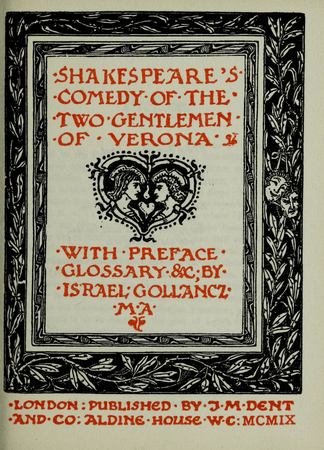 Frontpiece to Two Gentlemen of Verona for the Temple Shakespeare