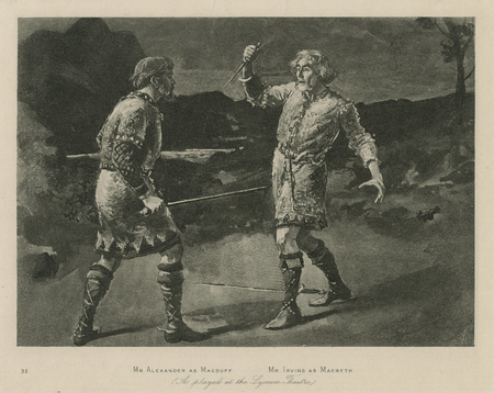 George Alexander as Macduff and Henry Irving as Macbeth