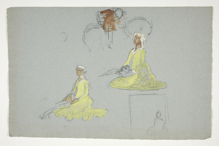 Two studies for Ophelia and Hamlet in the play scene