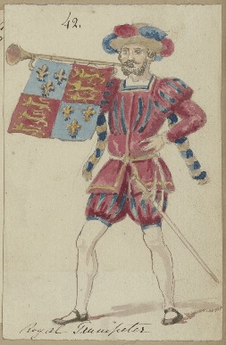 Costume design for royal trumpeter