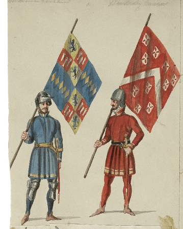 Costume designs for Northumberland's and Berkeley's troops