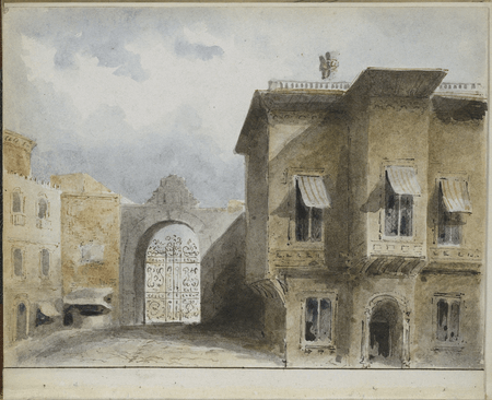 Scene design for Merchant of Venice, probably by Charles Marshall
