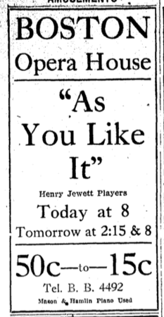 Advertisement for Jewett Players, Boston, Massachusetts, USA