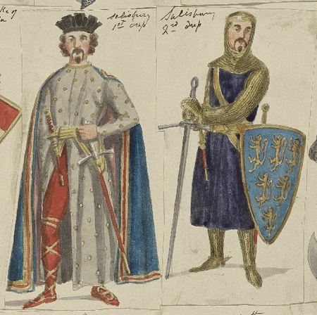 Costume designs for the Earl of Salisbury