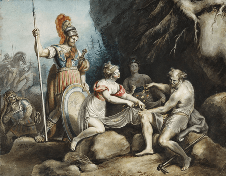 Timon giving away the gold to Phrynia and Fernandra