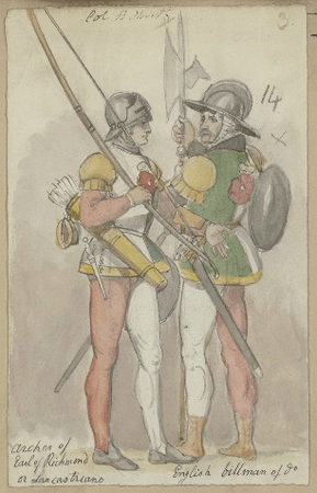 Costume designs for archer and billman in Richard III