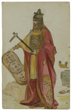 Costume design for the Viola Allen production of Cymbeline, possibly for Philarmonus
