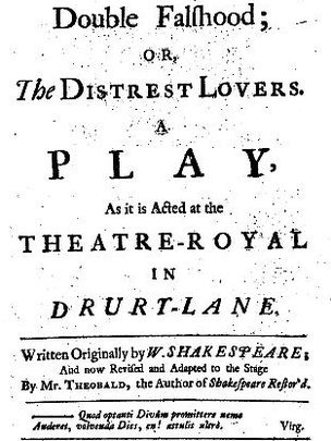 Title page of the 1728 quarto edition of Double Falshood